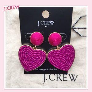 J.CREW Beaded  Heart Drop Earrings ! NWT❤️❤️❤️